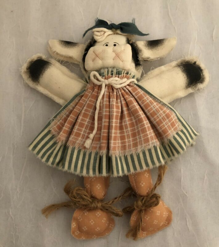 """Hand Made 7""""Country Cow Rag Doll Peach & Green Dress, Preowned, Used ,Adorable"""