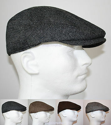 Classic Wool Ivy Cap - CLASSIC WOOL HERRINGBONE FLAT DRIVER IVY GOLF HATS GATSBY CAP - BROWN GRAY BLACK