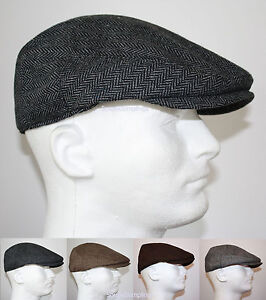 CLASSIC-WOOL-HERRINGBONE-FLAT-DRIVER-IVY-GOLF-HATS-GATSBY-CAP-BROWN-GRAY-BLACK