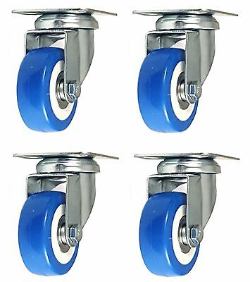 4 Pack 2 Inch Caster Wheels Swivel Plate On Blue Polyurethane Wheels Pu