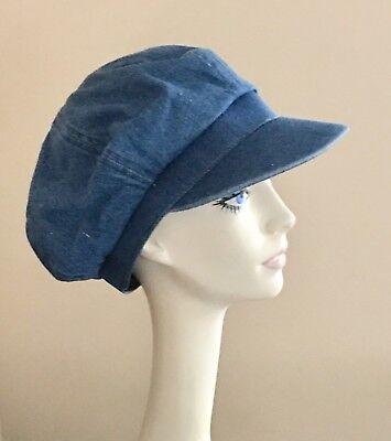Apple Cotton Cap (NWoT! Cotton DENIM Newsboy Cap BLUE Unisex Hat APPLE Cap)