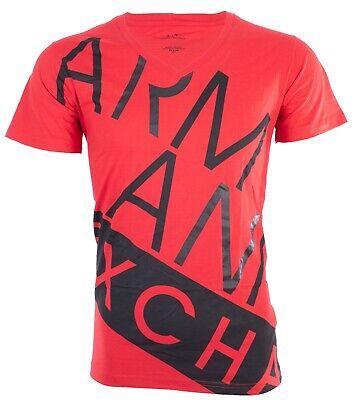 Armani Exchange BIAS Mens Designer T-SHIRT Premium RED BLACK Slim Fit $45 NWT ()