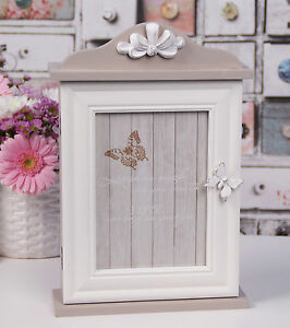 Wooden Key Box Rack Cabinet KEYS Holder Storage Shabby chic Butterfly Wall Hang