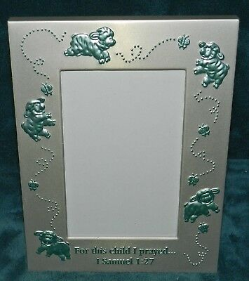 ADORABLE ALUMINUM BABY PICTURE PHOTO FRAME! BLUE LAMBS/SHEEP 1 SAM 1:27 Baby Lamb Photo Frame