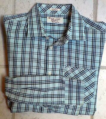 Original Penguin Logo Plaid L/S Shirt Large Classic Fit Mint Green - Penguin Mints