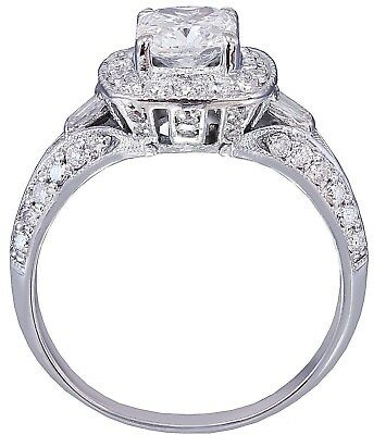 GIA G-SI1 14K WHITE GOLD CUSHION CUT DIAMOND ENGAGEMENT RING DECO 1.70CTW