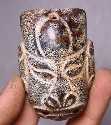 6CM China Hongshan Culture Old Jade Carve People Beast Face Head Amulet Pendant