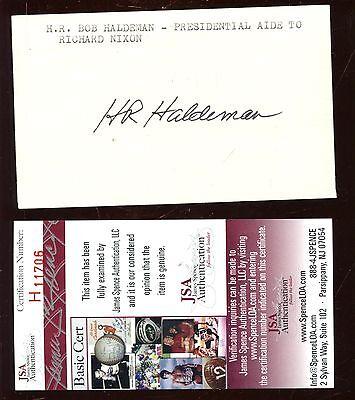 H R  Haldeman Nixon Aide Autographed Index Card Jsa