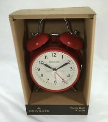 Newgate Twin Bell Alarm Clock, Red Case, Vintage British Design & Style