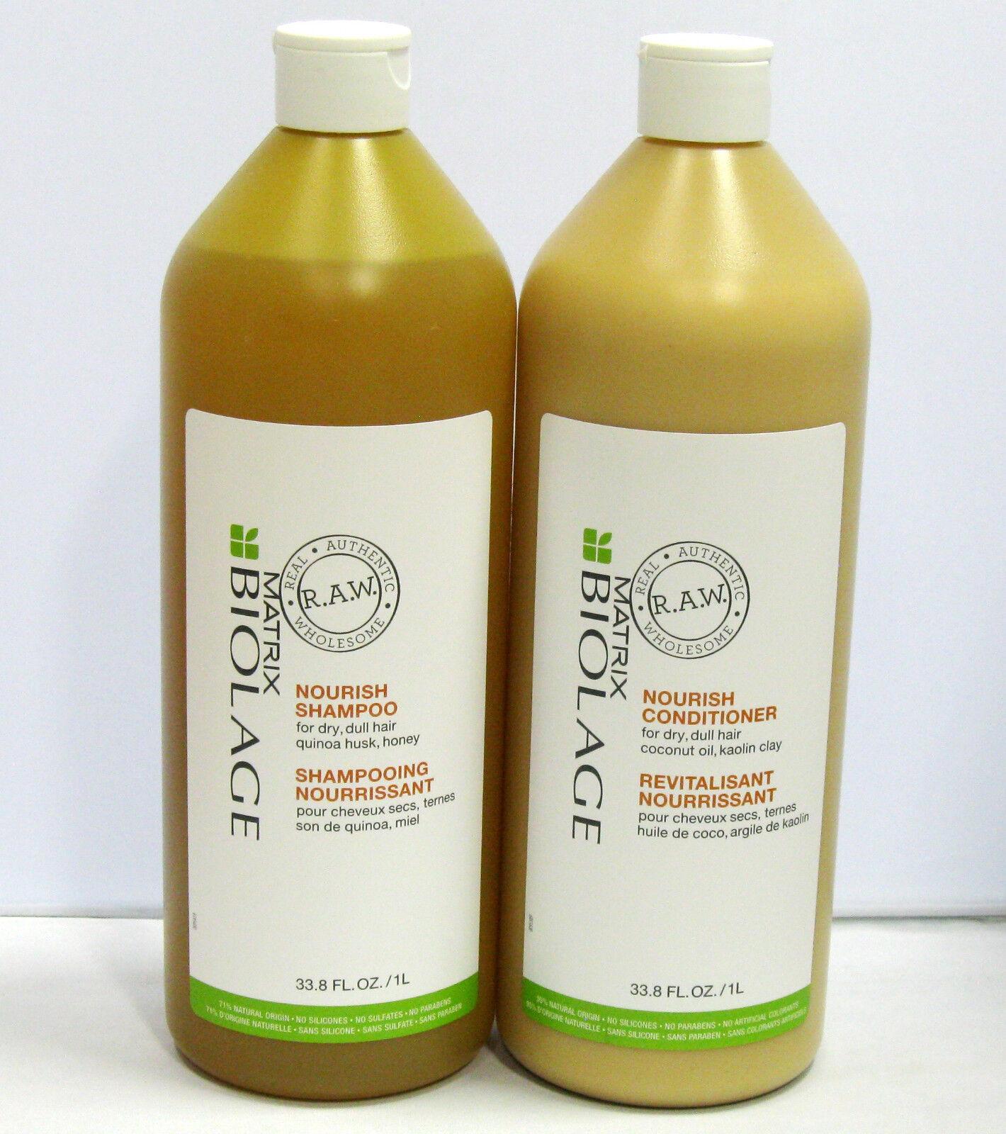 Biolage RAW Nourish Shampoo Conditioner 33.8 oz Liter Set Duo PACK Matrix