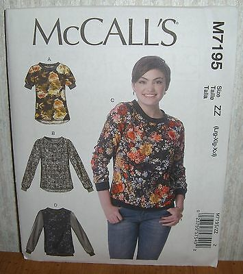 Womens/Misses Pullover Tops Sewing Pattern/McCall's M7195/SZ L-XXL/UCN