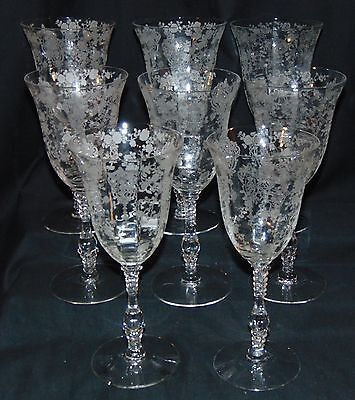 "8 Cambridge ROSE POINT CRYSTAL *8 1/4"" 11 oz WATER GOBLETS *3121*"