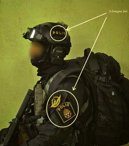 SVERIGE SWEDEN SWEDISH POLISEN POLIS PIKETEN PIKETENHETEN瑞典警察 velkrö 3-INSIGNIA