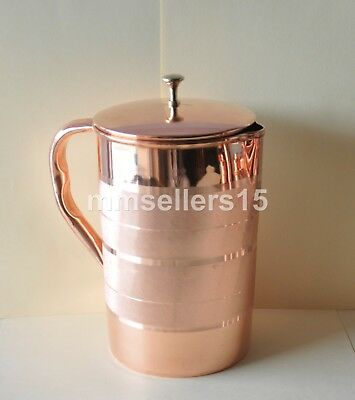 Pure Copper Handmade Jug Water Pitcher 2.5 Liter Energized Storage Ayurveda Yoga