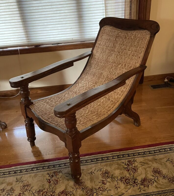 Anglo-Indian Dutch Plantation Chair British Officer Chair Caned Seat & Back