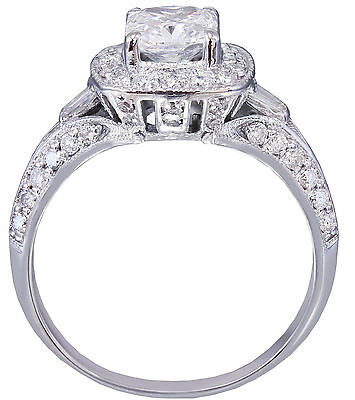 GIA G-SI1 14K WHITE GOLD CUSHION CUT DIAMOND ENGAGEMENT RING DECO 1.70CTW 3