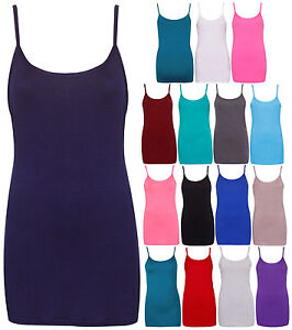 Womens-New-Plain-Sleeveless-Ladies-Stretch-Long-Strappy-Camisole-Vest-Tank-Top