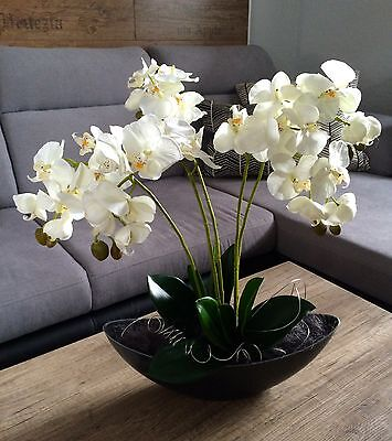 Neu edle weiße Orchidee 60 cm hoch künstliche Blumen Orchideen Kunstblumen