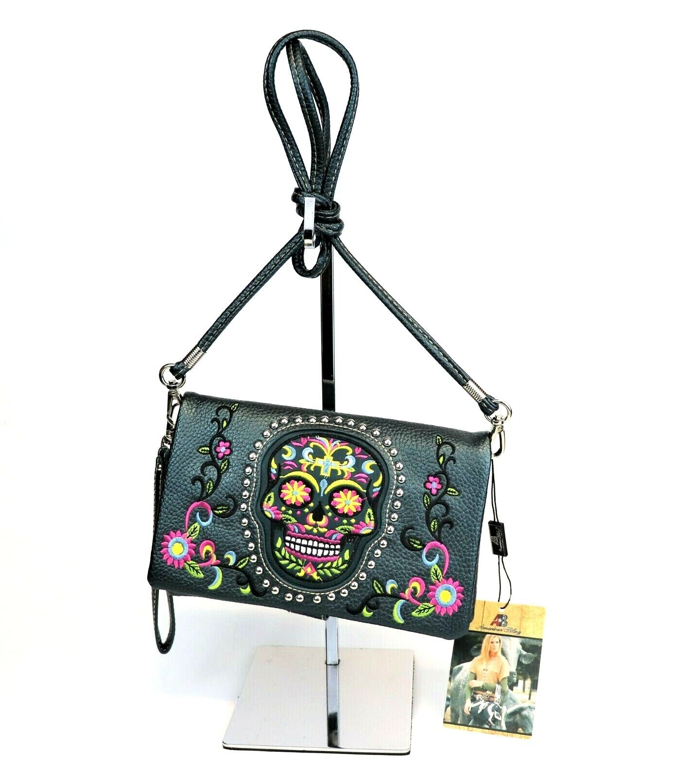 Sugar Skull Purse Country Western Embroidery Crossbody Bag C