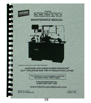 Hardinge Lathe Models Hlv Tfb-h Maintenance Manual 58