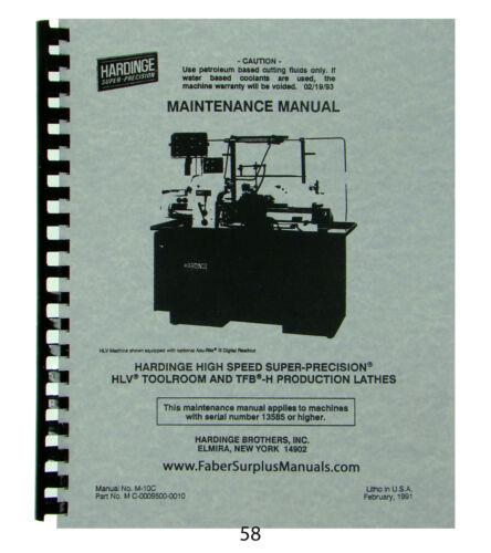 Hardinge Lathe Models HLV & TFB-H  Maintenance Manual *58