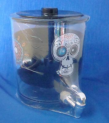 Halloween Day of the Dead skull 1.5 gallon clear beverage dispenser NEW](Halloween Decorations Drink Dispenser)