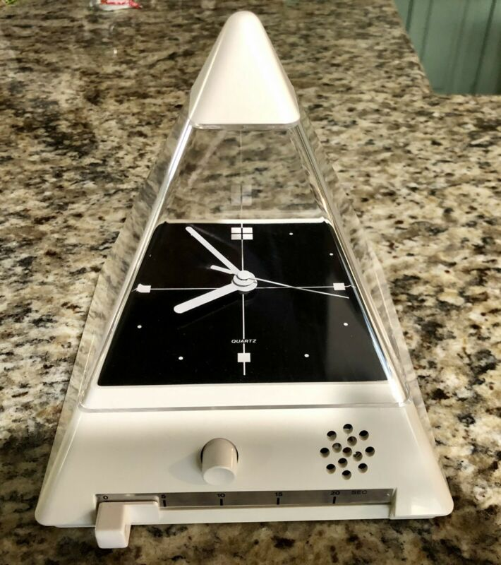 RARE!!!  Vintage Pyramid Clock Mid Century Atomic Space Age Clock Made In Japan