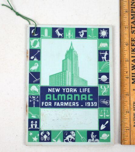 Vintage 1939 New York Life Almanac For Farmers