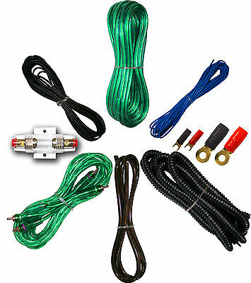 8 Gauge Amplfier Power Kit for Amp Install Wiring Complete RCA Cable Green 1500W