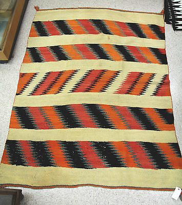 """c1880-1890 Navajo Transitional Banded Blanket 55"""" x 75"""" Professionally Cleaned"""