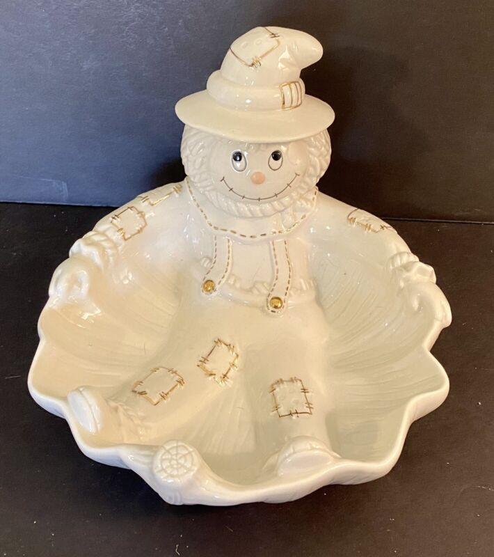 Lenox Scarecrow Porcelain Candy Dish Bowl Plate Halloween Decor White Cream Gold