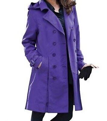 Women's fall winter Water- Resistant Rain trench coat hood j