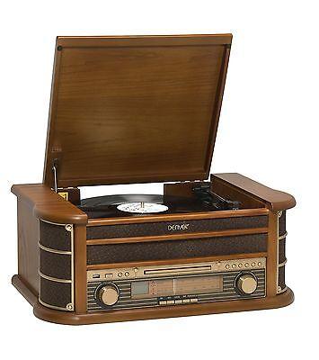 Denver MCR-50MK2 Retro Plattenspieler aus Holz Radio CD Kassette USB MP3 Cinch