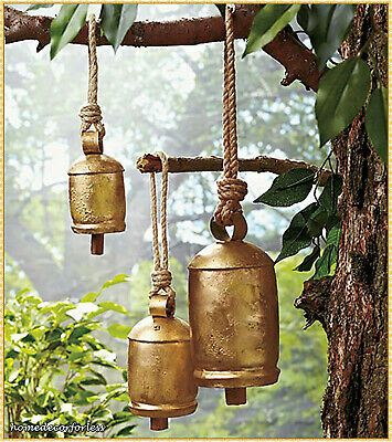 - Set of 3 Large Tranquil Sounding Harmony Iron Bells Wind Chime Relaxing Garden