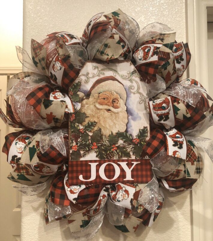 "VINTAGE SANTA CLAUS ⛄ CHRISTMAS WREATH Deco Mesh RUSTIC 24"" x 24"" TRADITIONAL"