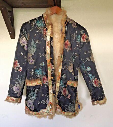Winter Silk Embroidered Brocade Yak Fur Coat Lhasa Tibet China FREE SH