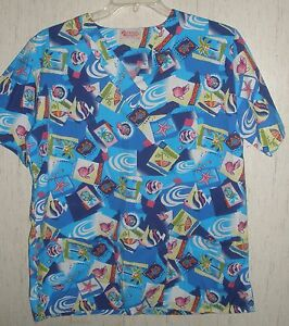 WOMENS-Fashion-Scrubs-TROPICAL-PRINT-S-S-SCRUBS-TOP-SIZE-12