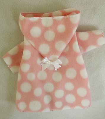 Xxxs Pink And White Fleece Hooded Dog Bathrobe Clothes Pc Dog®
