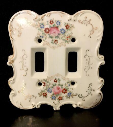 VTG Ceramic Porcelain Floral Rose Shabby Double Light Switch Plate Cover 7311