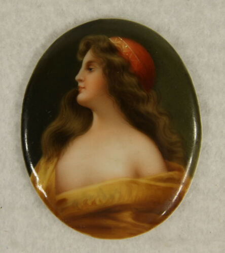 Antique Wiena Porcelain Hand Painted Odalisque  Miniature  Plaque