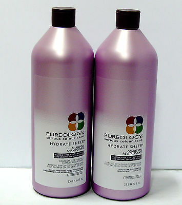 Pureology Hydrate Sheer Shampoo & Conditioner 33.8 oz Liter Duo Set Pack