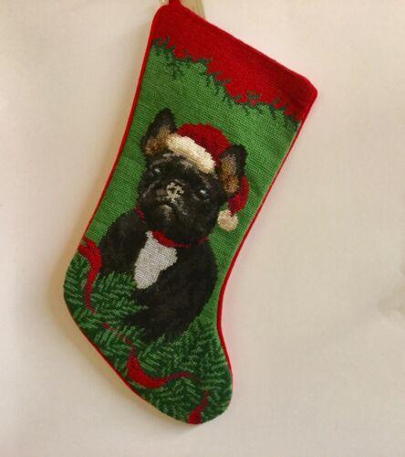 Black french bulldog Frenchie needlepoint stocking- not a kit