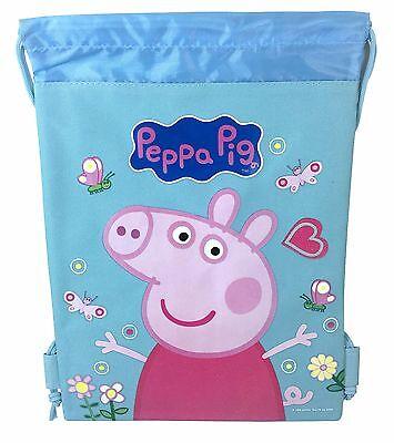 Baby Blue Peppa Pig Drawstring Backpack School Sport Gym Bag