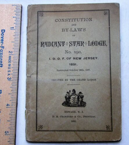 Odd Fellows Constitution By-Laws Radiant Star Lodge #190 New Jersey 1891