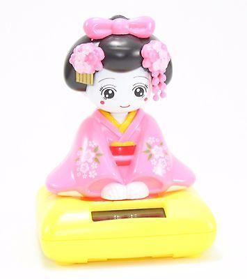Solar Bobblehead Toy Figure, Maiko - Sitting Pink Geisha