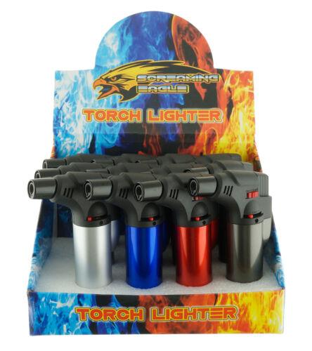 "4 Pack Jumbo 4"" Jet Flame Torch Gun Lighter Refillable Lockable Windproof Metal"