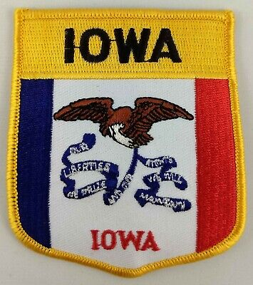 Iowa State Applique (Iowa State Shield Patch Badge Embroidered Iron On Sew On Applique )