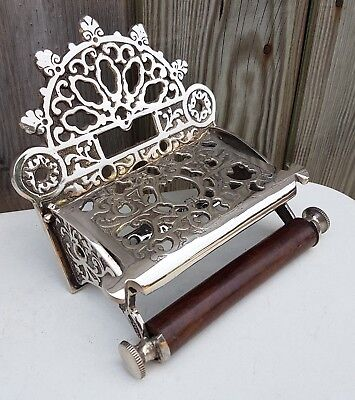 Victorian Style Solid Brass Toilet Roll Holder With Wooden Loop