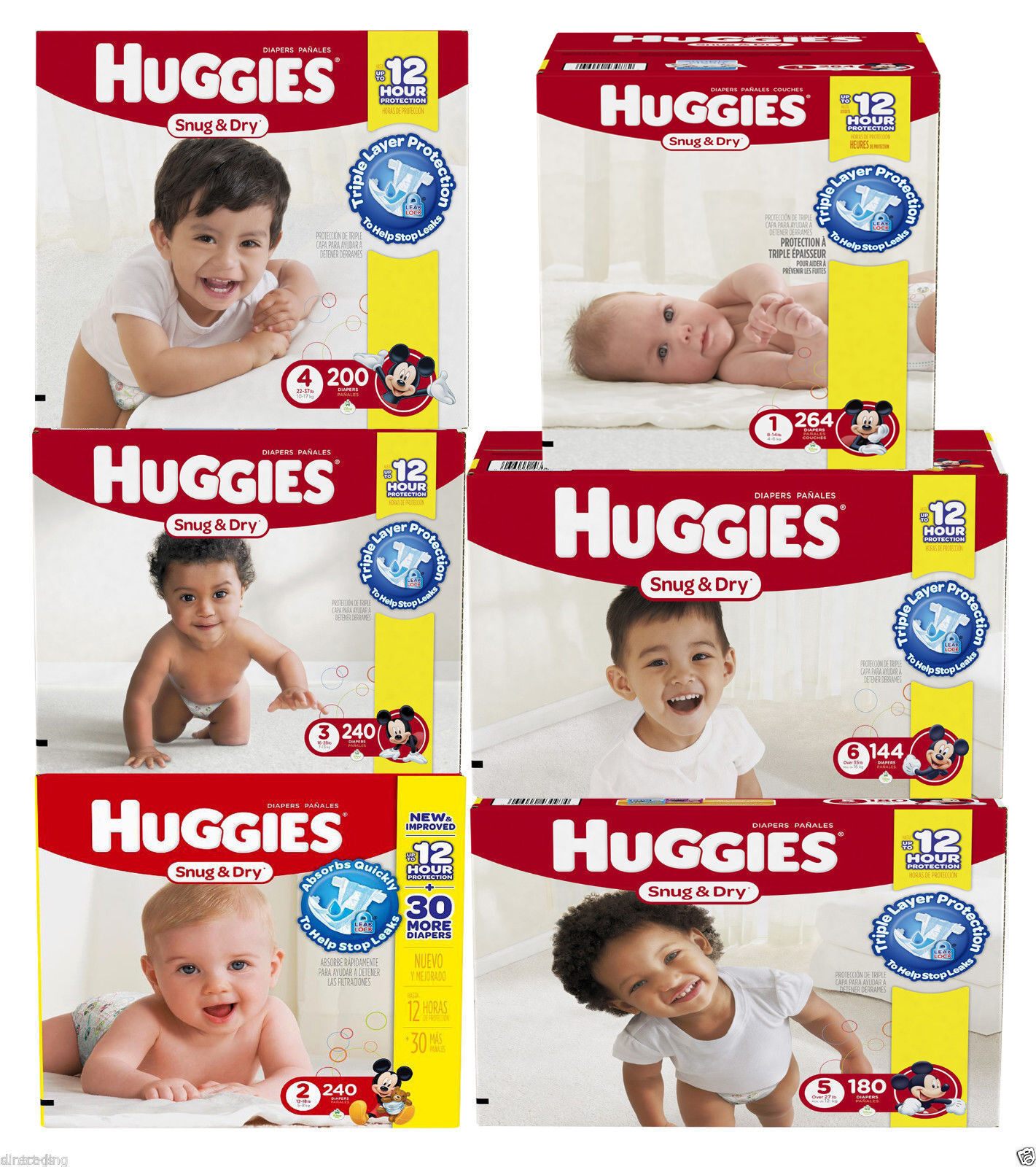 Huggies Snug and Dry Disposable Baby Diapers Size 1, 2, 3, 4, 5 & 6 - BRAND NEW! 1