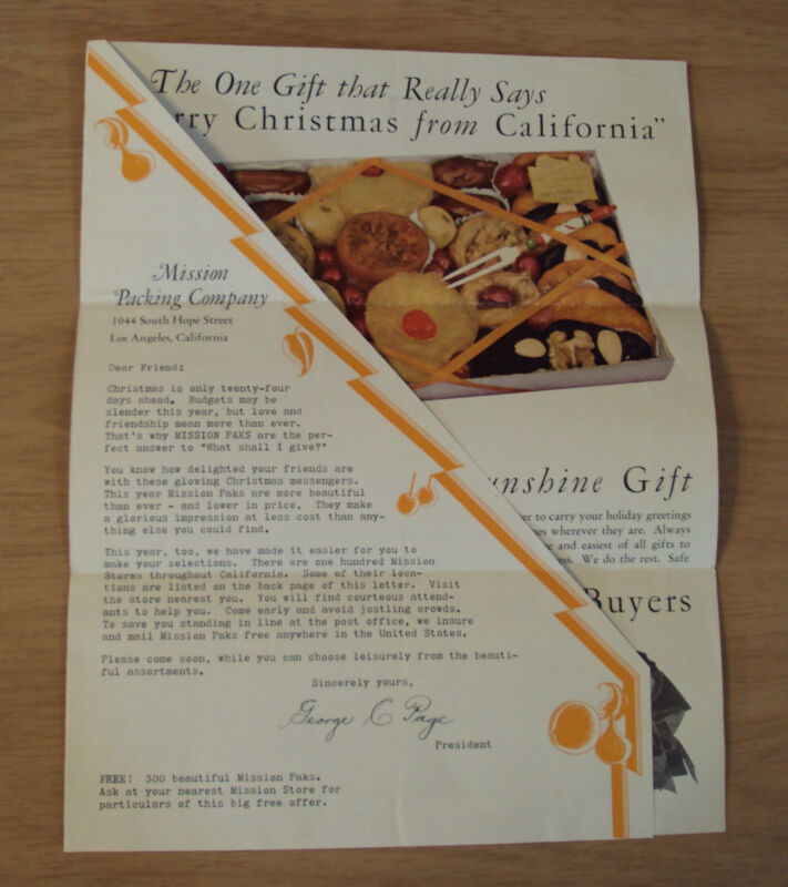"""1933 Advertising CHRISTMAS Mailer~""""MISSION PACKING CO""""~California DRIED FRUIT~"""